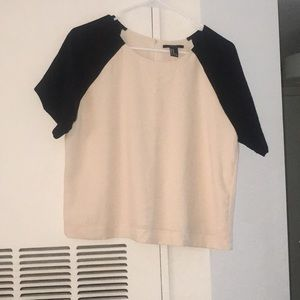 Forever 21 cream and black Colorblock crop top